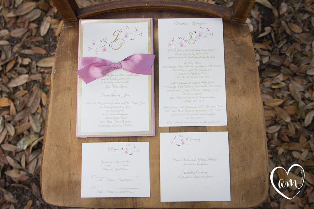 Pink wedding invitations photographed by Florida Destination Wedding Photographer