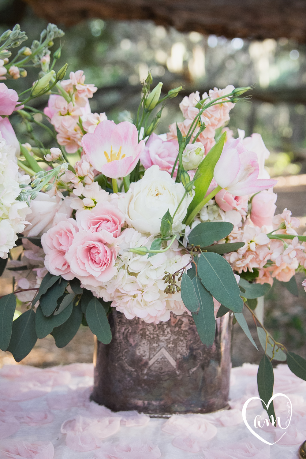 Pink centerpieces photographed by Florida Destination Wedding Photographer