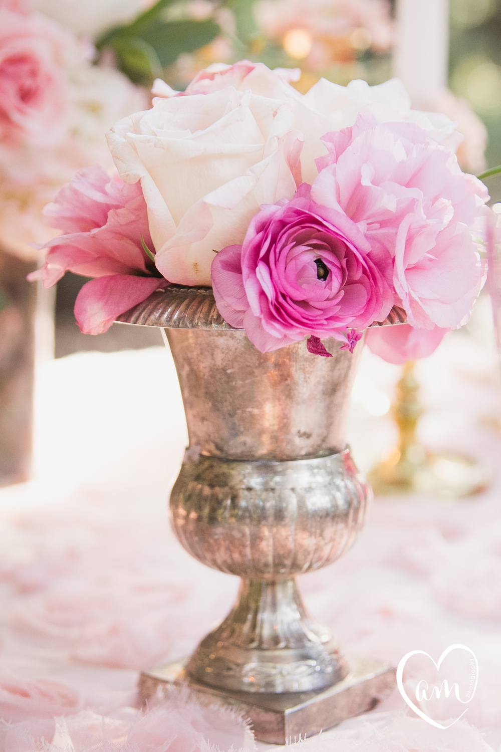 Pink flowers photographed by Florida Destination Wedding Photographer