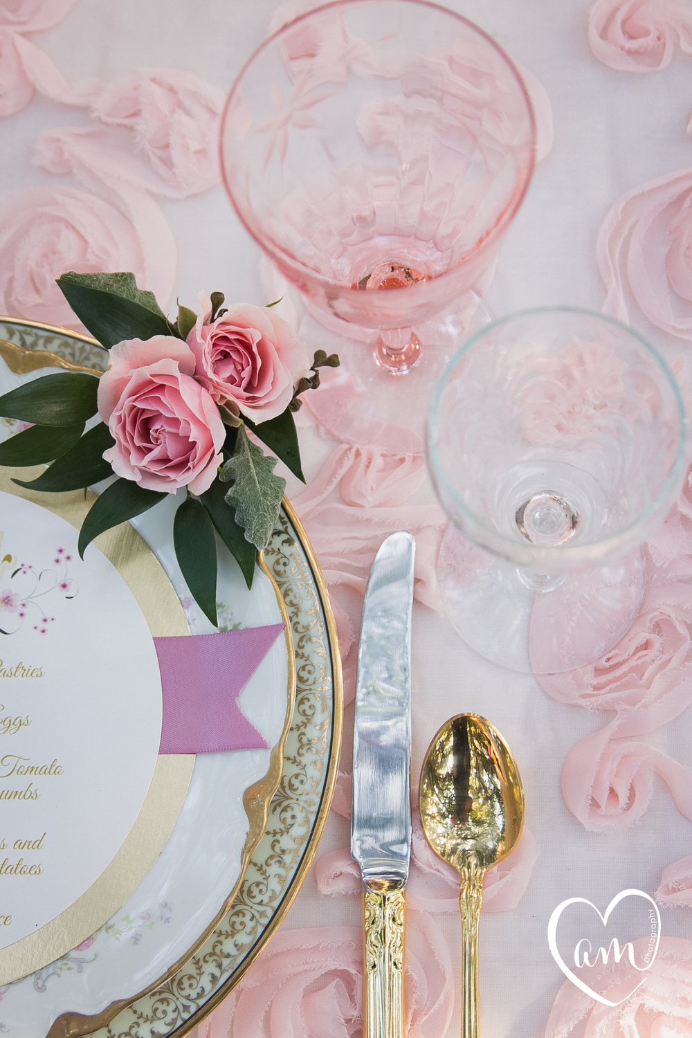 Pink place setting photographed by Florida Destination Wedding Photographer