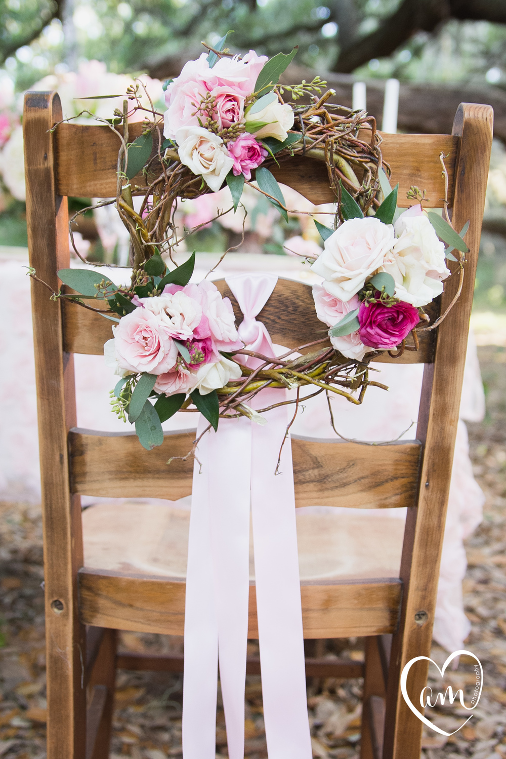Floral Chair Wreath photographed by Florida Destination Wedding Photographer