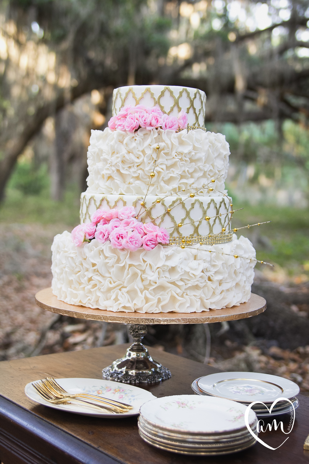 White and pink wedding cake photographed by Florida Destination Wedding Photographer