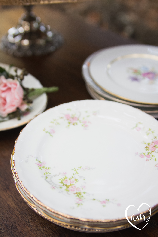 Vintage Dessert plates photographed by Florida Destination Wedding Photographer