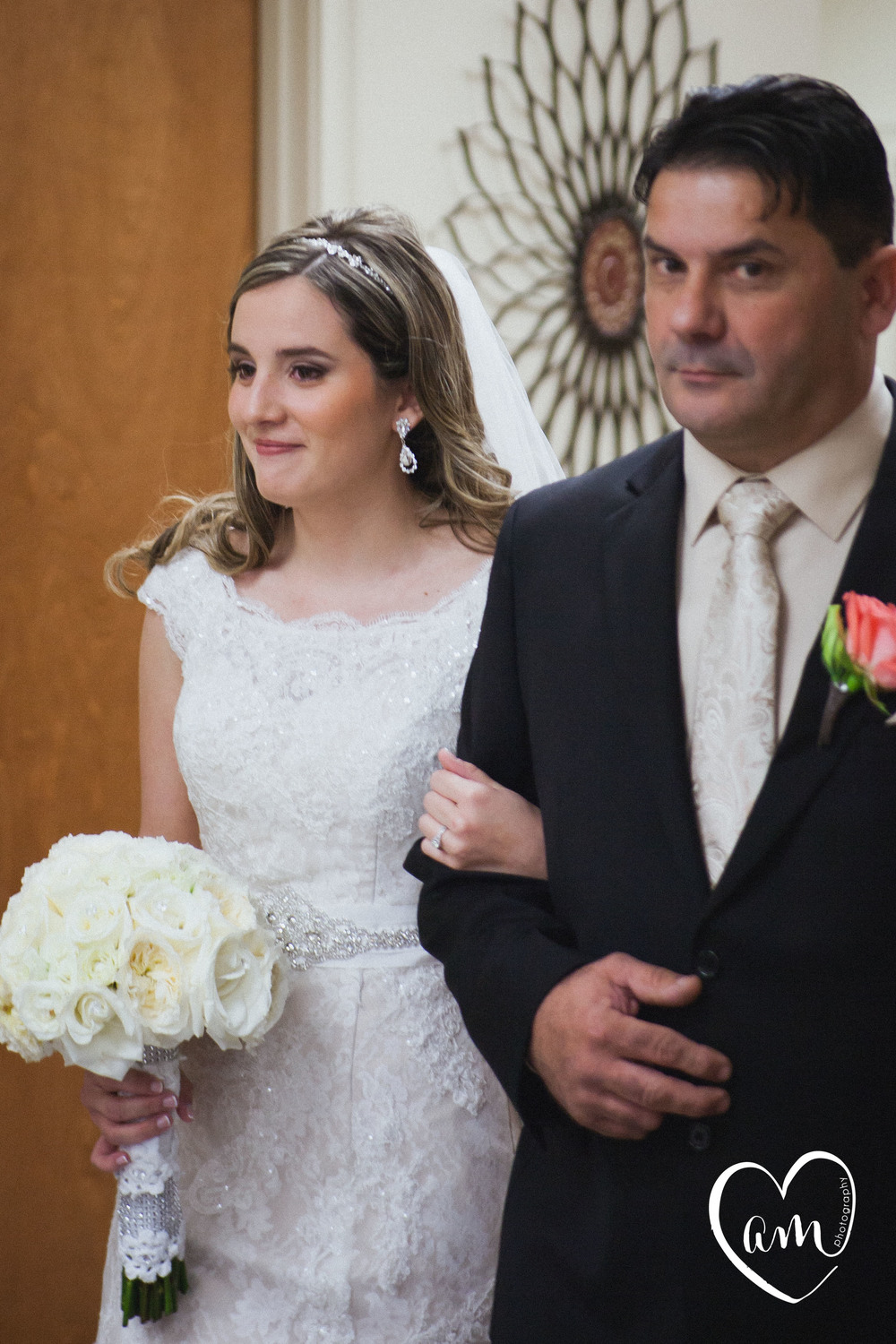 Father of the bride walks his daughter down the aisle. Photo by Orlando destination wedding photographer.