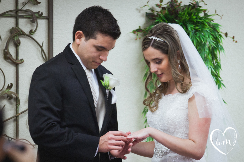 Bride and groom exchange wedding rings.