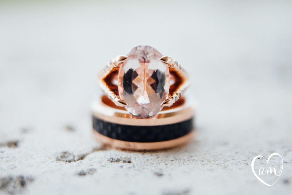 pink wedding rings. Photo by Amanda Mejias Photography: Destination Wedding Photographer