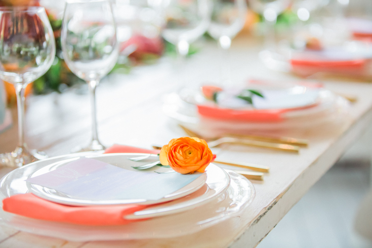 Colorful wedding place settings. Orlando Wedding Photographers