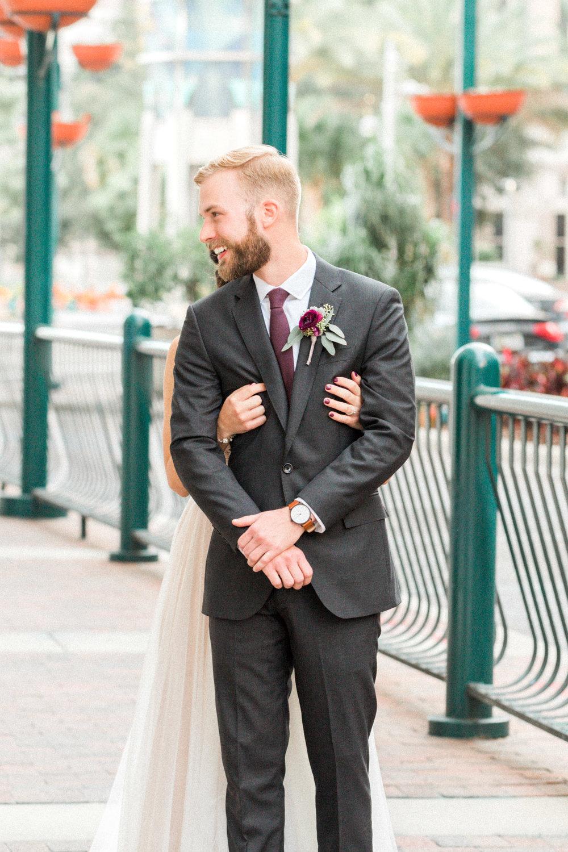 First look Orlando wedding by luxury photographer