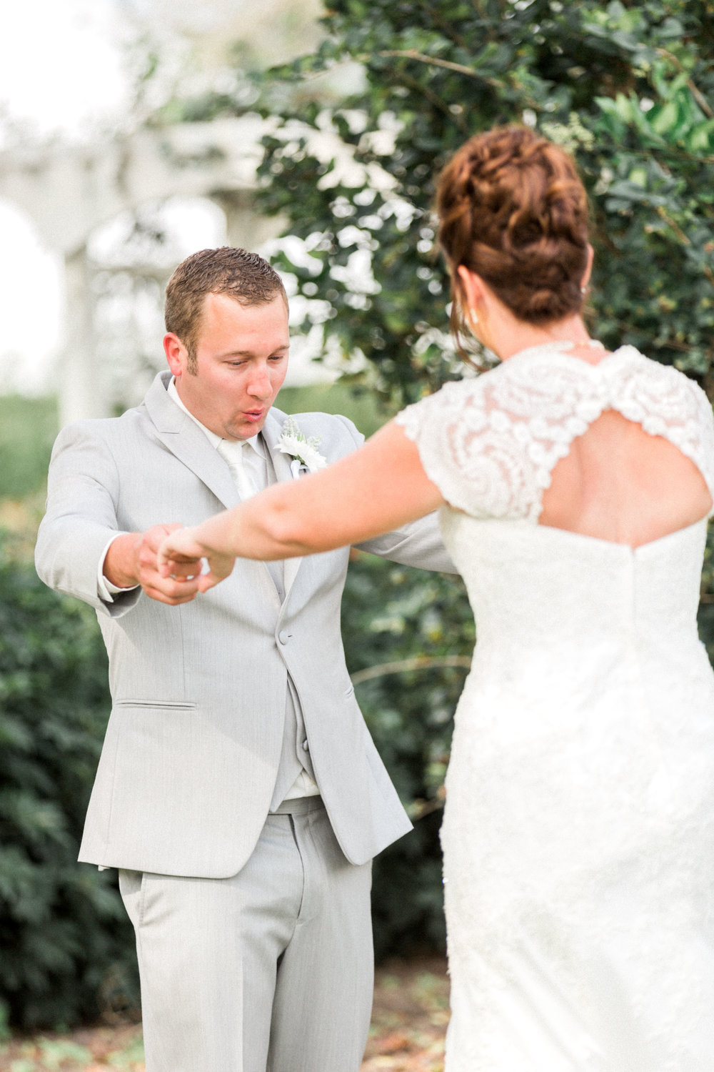 First Look reaction at Bellewood Plantation wedding