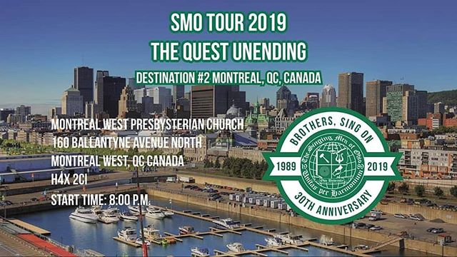 Our second #SMOTour2K19 is at 8 p.m. tonight! Come on out to Montreal West Presbyterian Church tonight to see our first concert in Canada!
