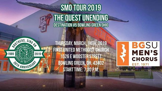 Less than 6 hours until our second to last #SMOTour2K19 concert. We are performing in Bowling Green Ohio with @bgsumenschorus for a joint concert! Get ready to hear Brothers, Sing On performed by two different choirs!