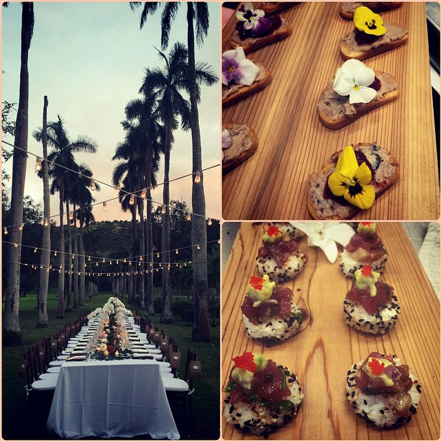LOVED the setup from Katherine & Stephen's wedding this weekend at Dillingham Ranch. How pretty are these Chicken Liver Pate on Kauai Sea Salt Crostinis with Cranberry Pomegranate Chutney complete with an edible flower?? #beachesandbackyards #hawaiiwedding #ono #catering #hawaiicatering #oahucatering #beachesandbackyardscatering #yum #dillinghamranch #poke #delicious
