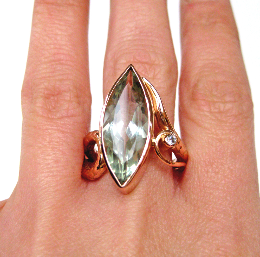 Marquise Green Amethyst Ring