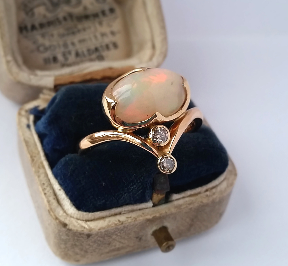 Indonesian Opal and Diamond Ring