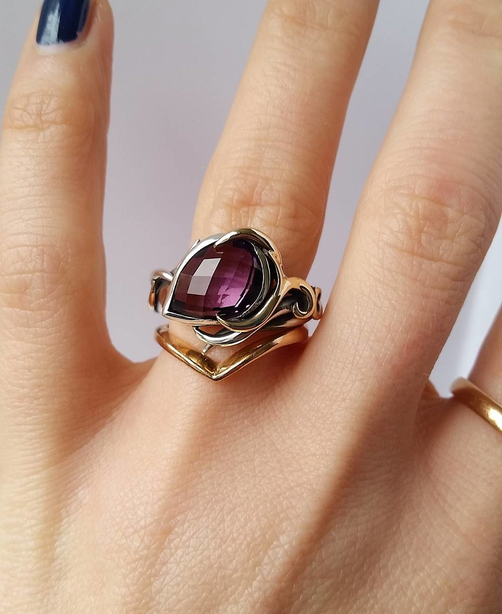 Purple Amethyst Ring Set