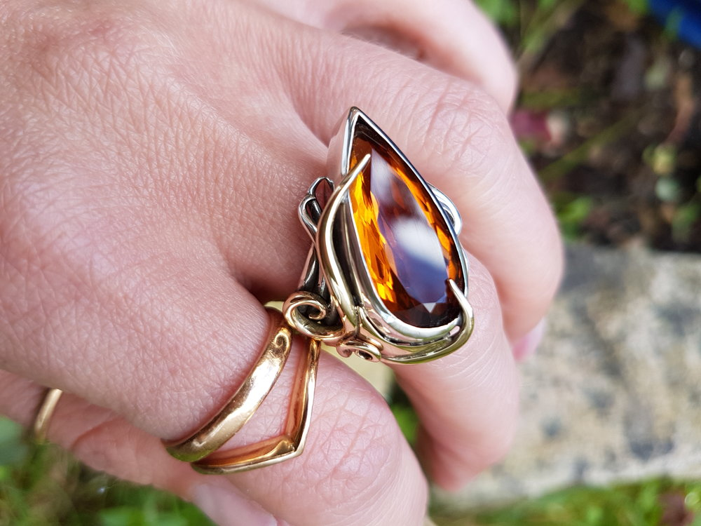 Citrine Peacock Ring