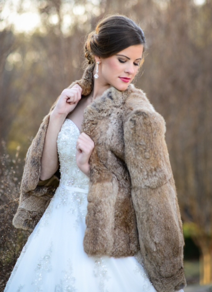 Vintage Fur Bridal portrait photographed in Greenwood SC.