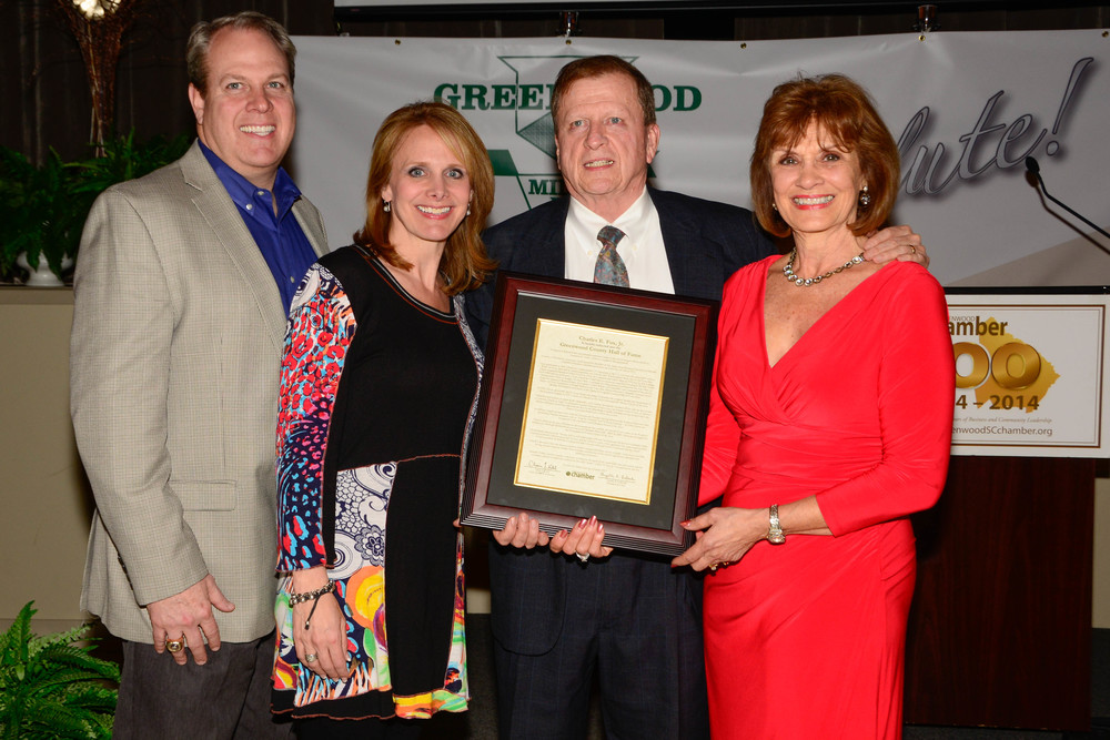 Award recipient of the Greenwood Chamber of Commerce's Hall of Fame award.