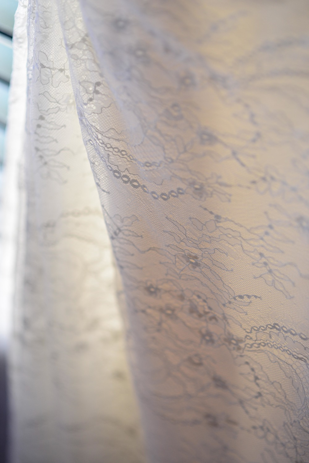 Ivory Lace Detailing on Sarah's Vera Wang wedding gown.