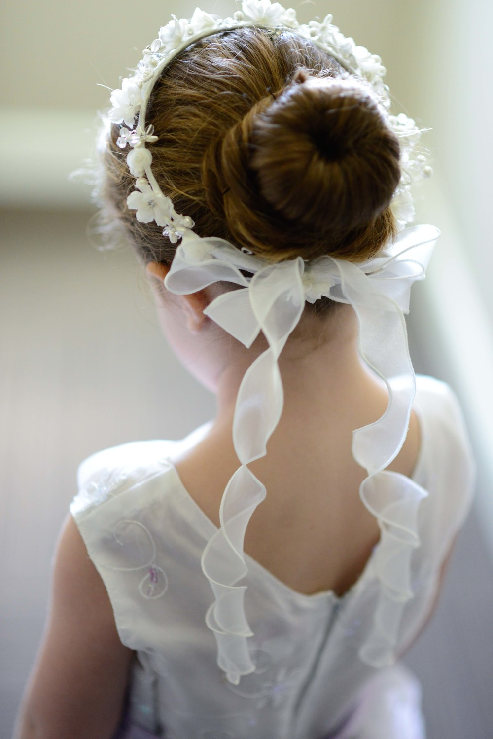 Flower girl halo with ribbons