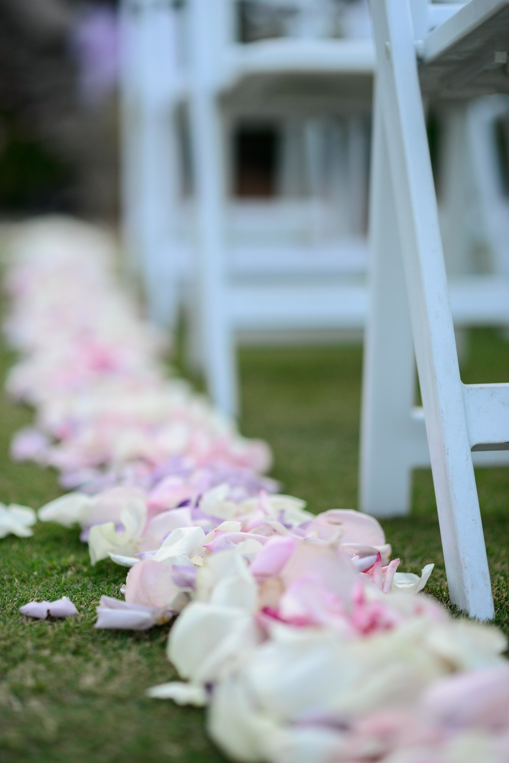 Pastel pink, white, and lilac rose petals lined the ceremony aisle.