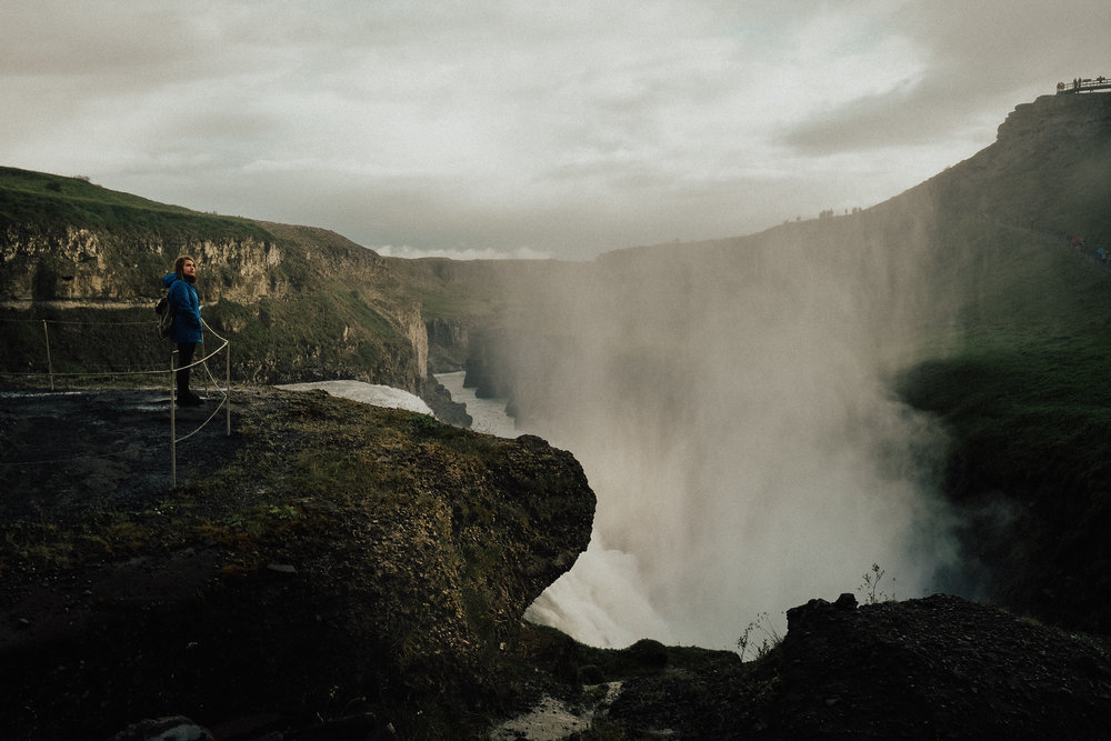 Gullfoss is easily one of the most dramatic waterfalls in Iceland, and right off the golden circle.