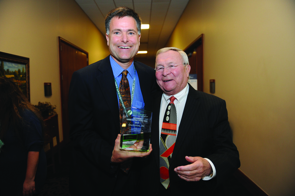 Kurt Riegger of OcuSciences and INNO-VATOR of the Year award winner and Oakland County Executive L. Brooks Patterson