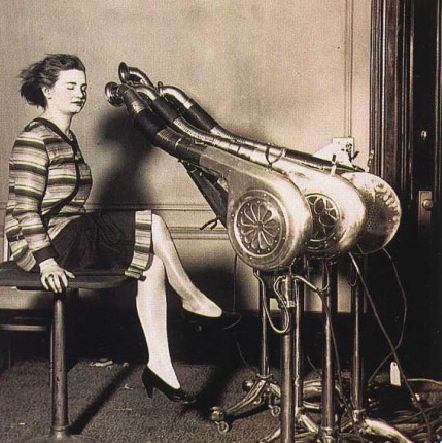 Experimentations with drying hair in the early 1900s included use of vacuum cleaners.