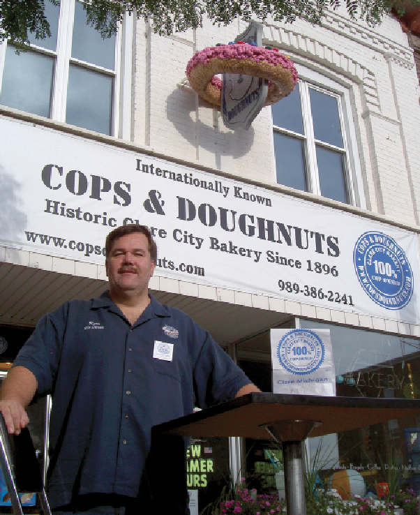 "Greg ""Ryno"" Rynearson is president of Cops & Doughnuts, a cop-owned bakery, diner and shop that has put small-town Clare, MI, on the tourist map. Photo by Susan R. Pollack"