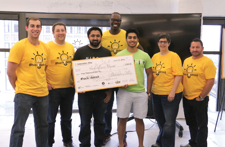 From left: Will McDowell of Detroit Labs, Brian Balasia of Digerati, Imran Raja of MB Financial, Garlin Gilchrist II of Civic Community Engagement, Abdul Miah of rankedHiRe, Beth Niblock of the City of Detroit and Sean Hurwitz of Pixo.