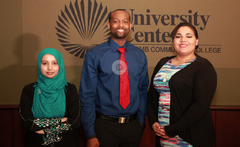 Naznin Aktar of Warren, first-place winner of Macomb Community College Center for Innovation and Entrepreneurship's first-ever student entrepreneur pitch competition; second-place winner Teron C. Varner of Shelby Township; third-place and audience choice award winner Lauren Williams of Chesterfield.