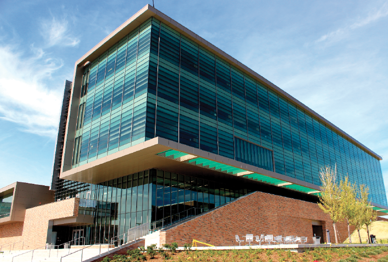 The 127,000-square-foot Engineering Center is home to a state-of-the-art, fully equipped 3,000-square-foot laboratory for use by students in the School of Engineering and Computer Science. Photo by Stephanie Sokol