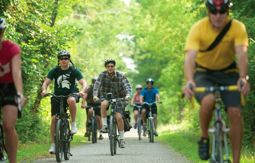 Michigan bike riders enjoy miles and miles of recreational trails, including the Clinton River Trail, Paint Creek Trail, West Bloomfield Trail and Island Lake Recreation Area. photo courtesy  Michigan Trails and Greenways Alliance