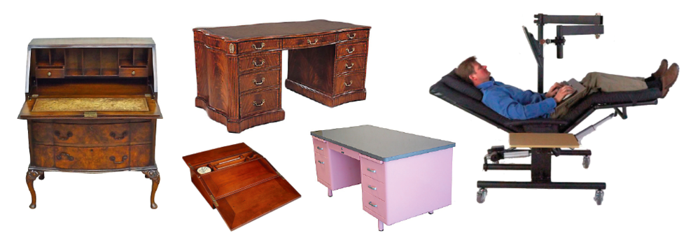 From left: roll-top desk; writing box; kneehole desk; Tanker desk; Zero Gravity workstation by ErgoQuest
