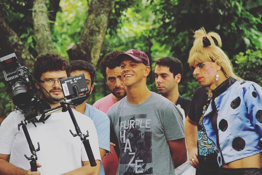 Gustavo Malheiros et Xuxa do Sinal tournage du film Anônimos Famosos