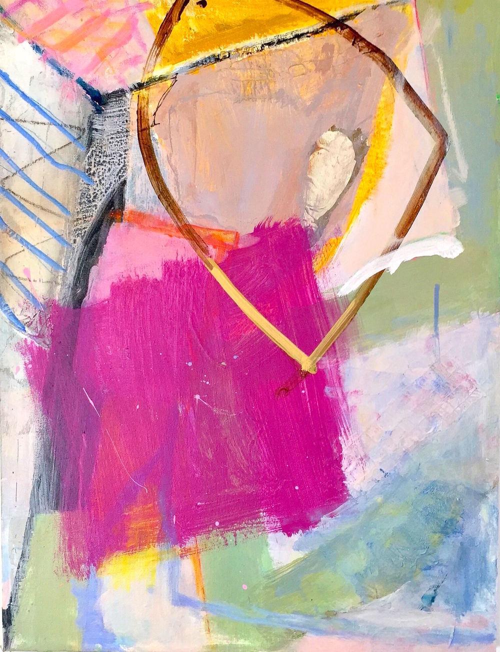 "Pink Dress acrylic on canvas, 24""x18"" 2015"