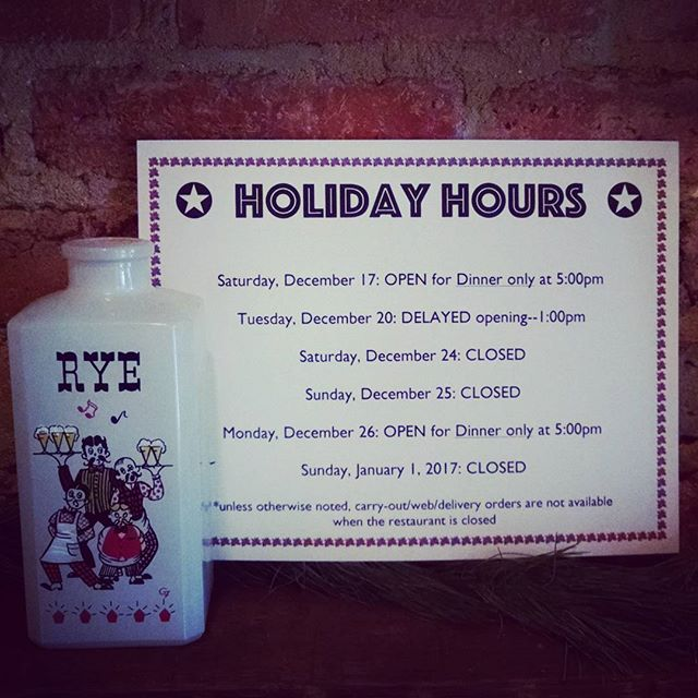 Holiday hours, people! (Thinking of you @thepassengerdc !)