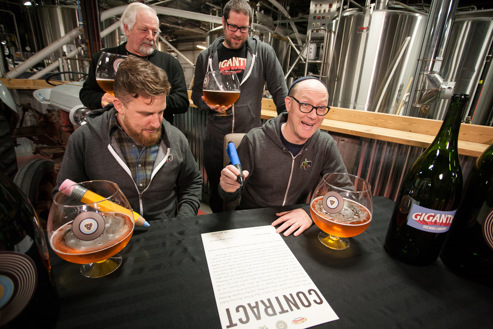 Gigantic Brewing Co. signing their B-Side Brewing Label contact.