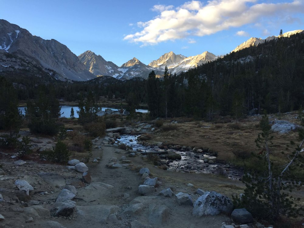 Trail by Heart Lake in the morning.