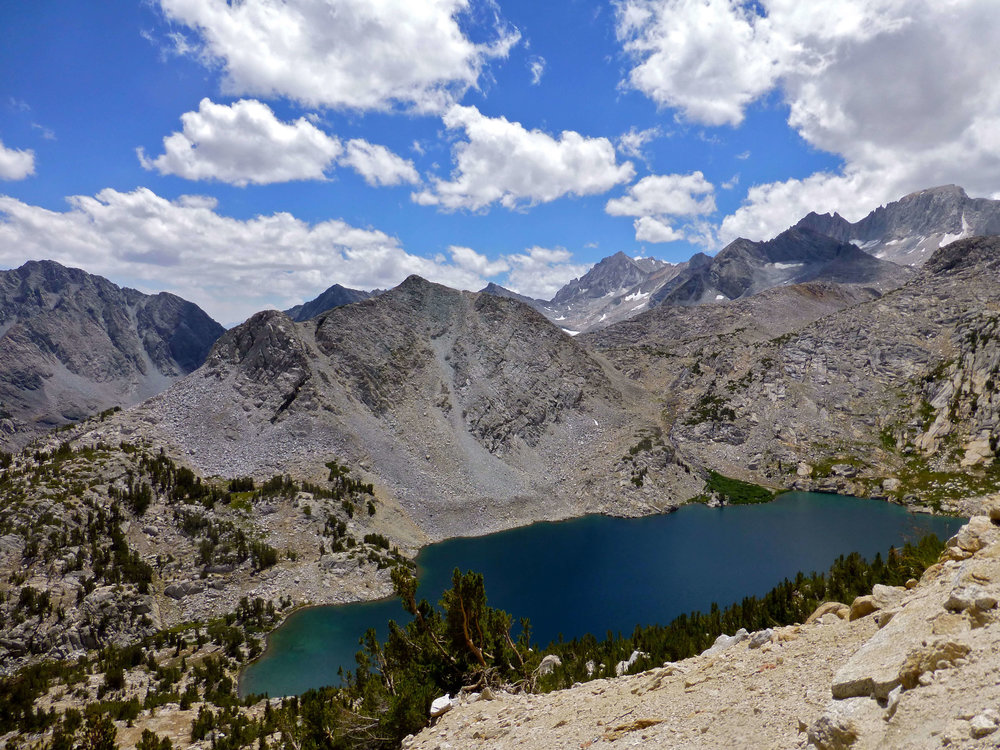 View from Mono Pass trial looking down on Ruby Lake.