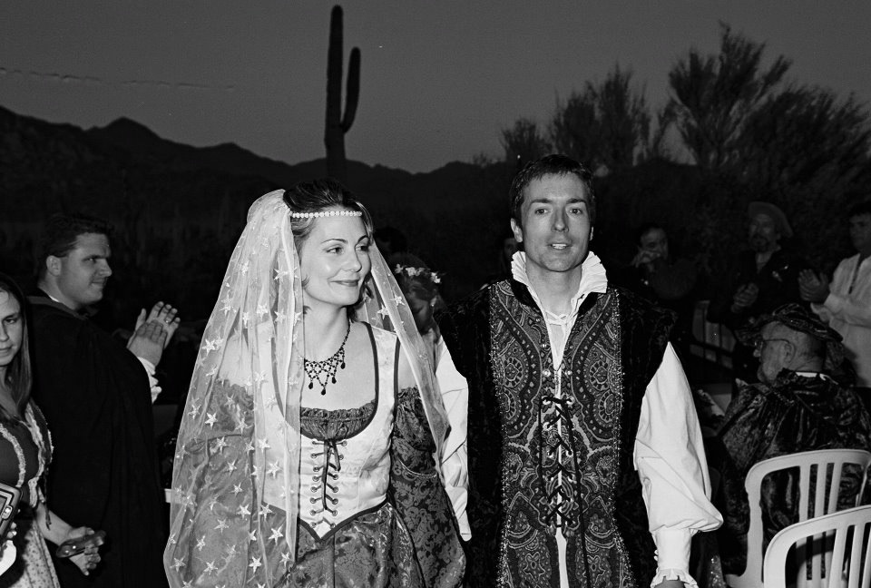 Jen and Tim's Handfasting in Tucson, AZ. April 2001.