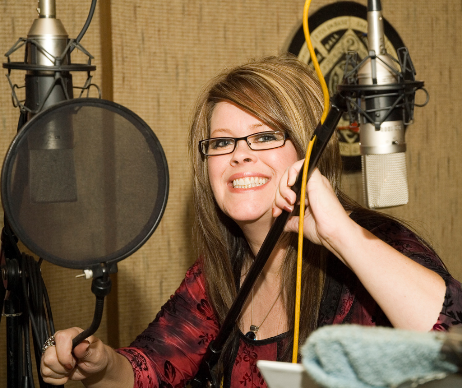 Singer, Andrea Templon in the studio