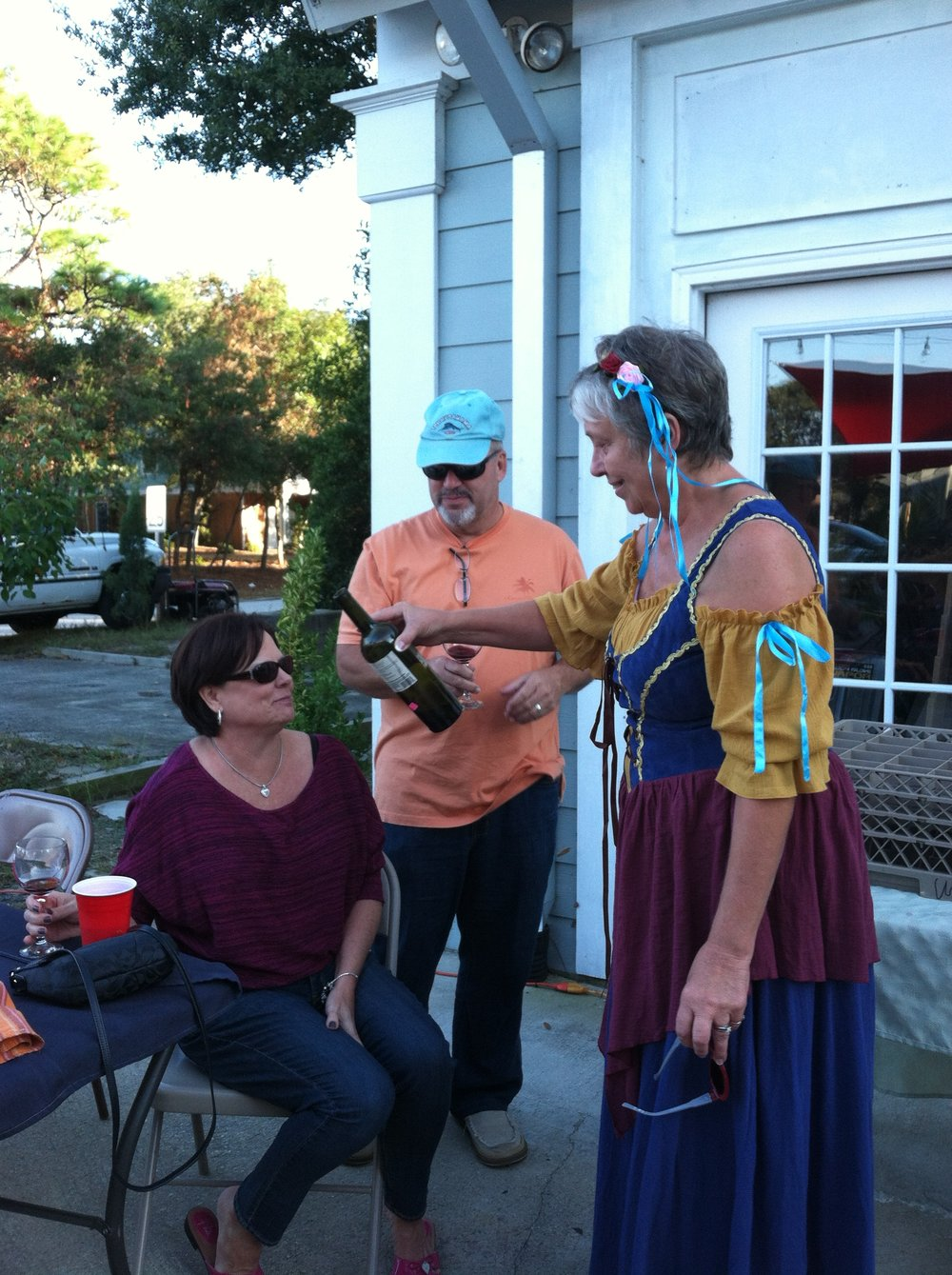 The owner of The Grape & Ale in Oak Island dressed in her German Oktoberfest attire and being a fabulous hostess!