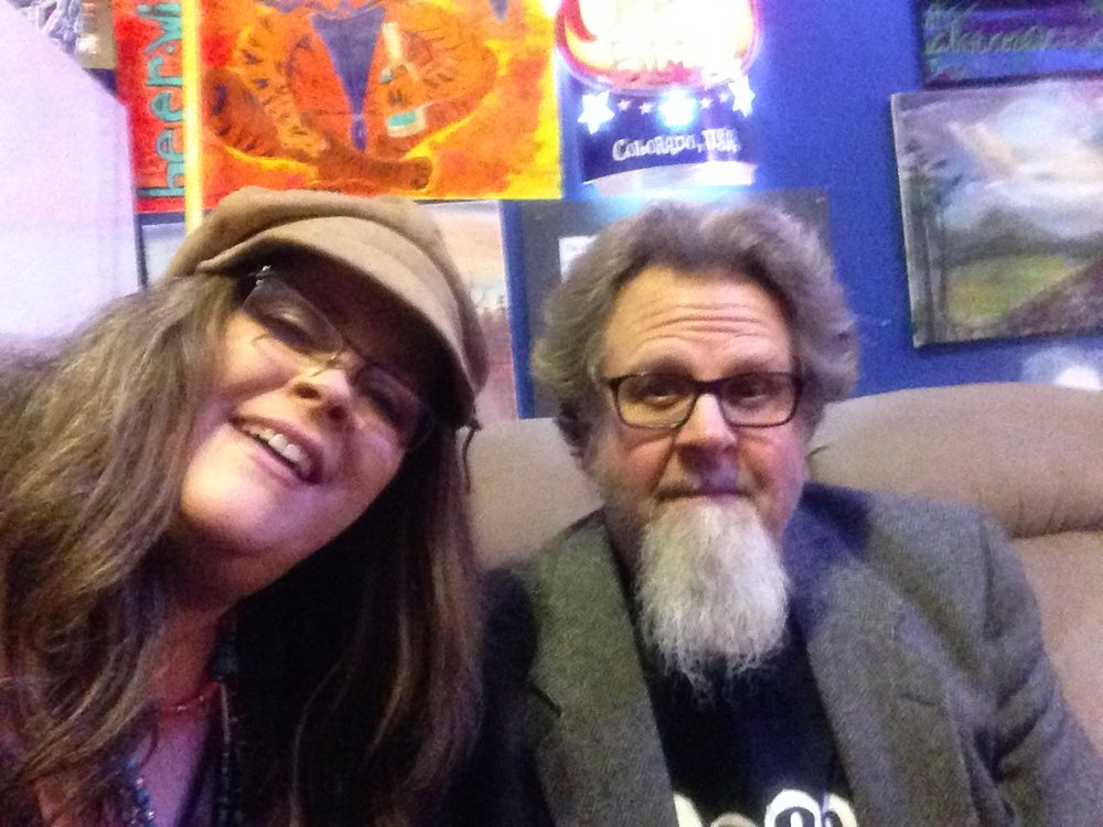 Andrea Templon and Roger Kohrs of Stained Glass Canoe messing around with selfies at Lil' Robert's Place in Concord, North Carolina.