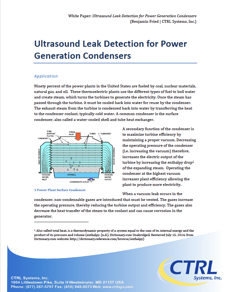 Leak Detection for Power Generation Condensers - Using an ultrasound listening device (ULD), improve power generation efficiency and output to keep up with the growing demands of electricity usage.