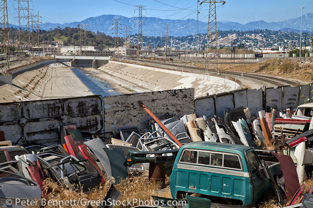Auto parts yard near Cesar Chavez Ave along Los Angeles River,