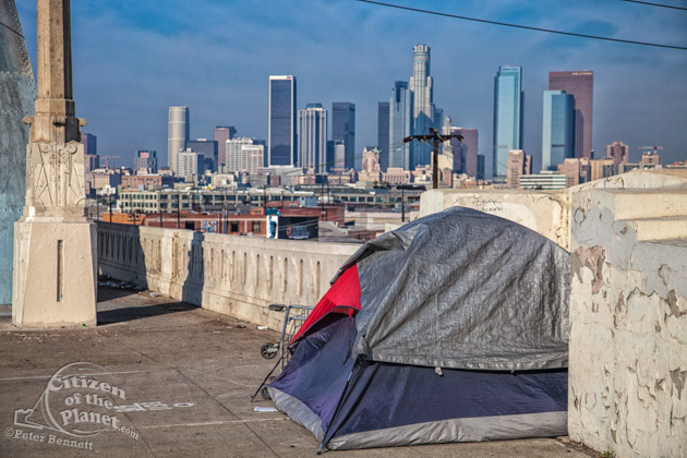 Homeless tent with LA skyline
