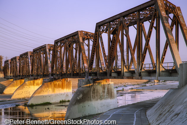 Train trestle bridge over Los Angeles River