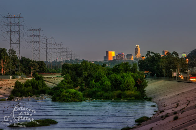 Glendale Narrows at the Los Angeles River with the downtown skyline