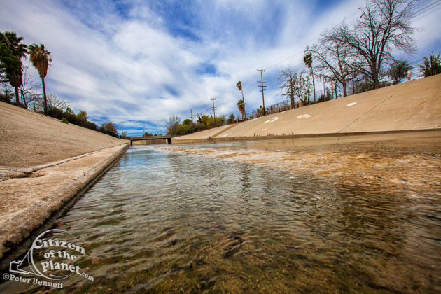 The beginning of the Los Angeles River at the confluence of Bell Creek and Arryo Calabasas in Canoga Park